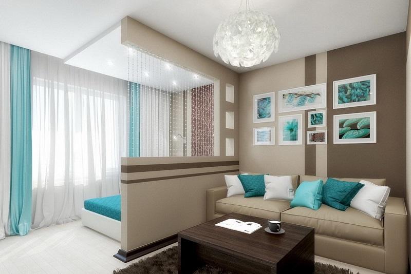 Зонирование гостиной комнаты на два пространства