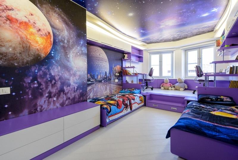 Цвета для детской комнаты в стиле Космос