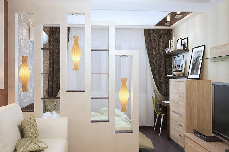 Стильный дизайн зонирования комнаты
