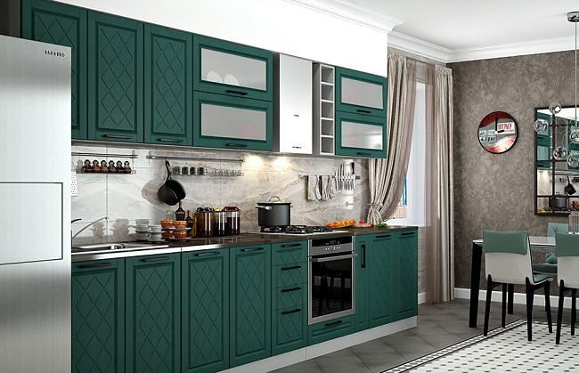 Изумрудная кухня в классическом стиле