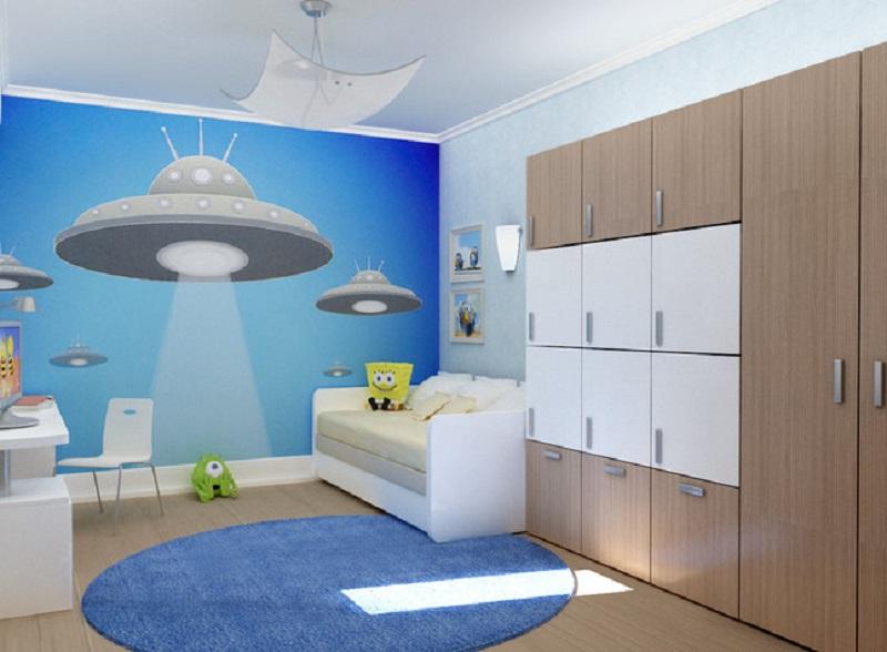 Космическое декорирование стены детской комнаты