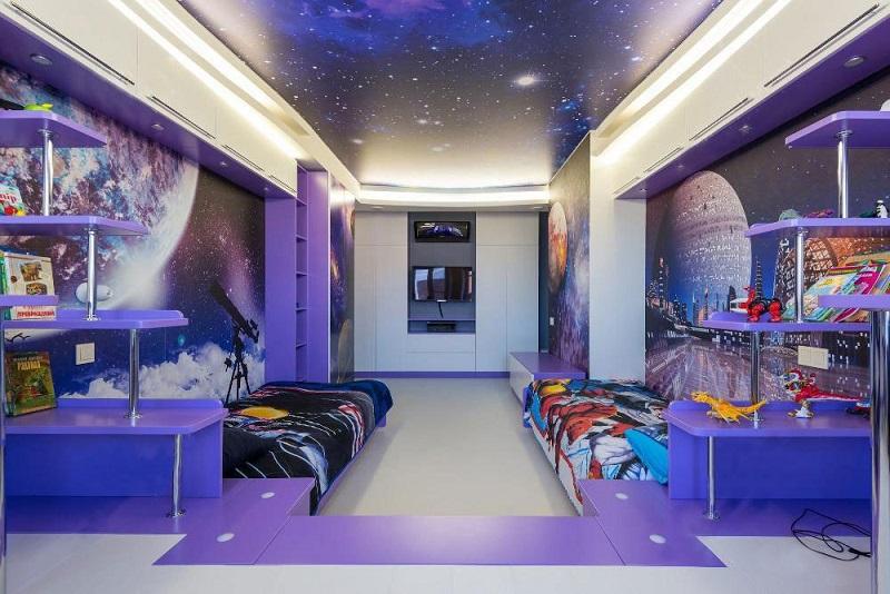 Мебель в космическом стиле сиреневого цвета