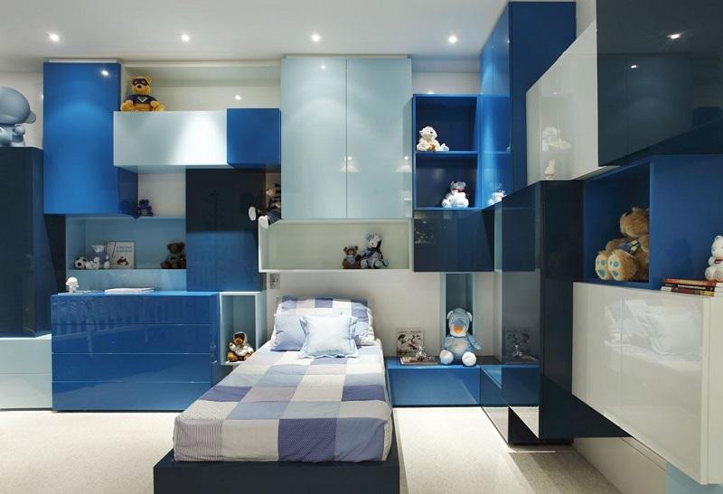 Белый в сочетании с голубым для полок и шкафов