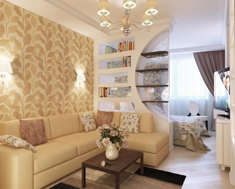 Стильный интерьер зонирования комнаты