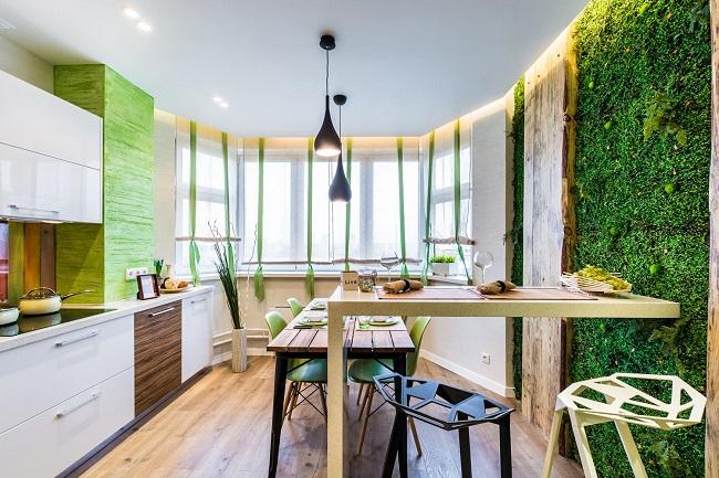 кухня экостиль панно из растений