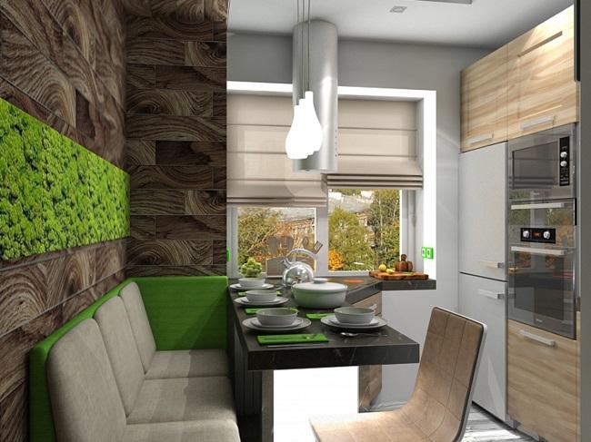 кухня экостиль зеленое панно