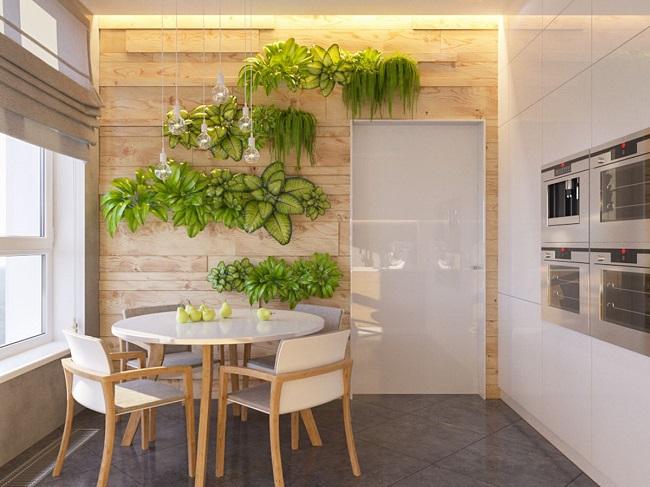 кухня экостиль стена с растениями