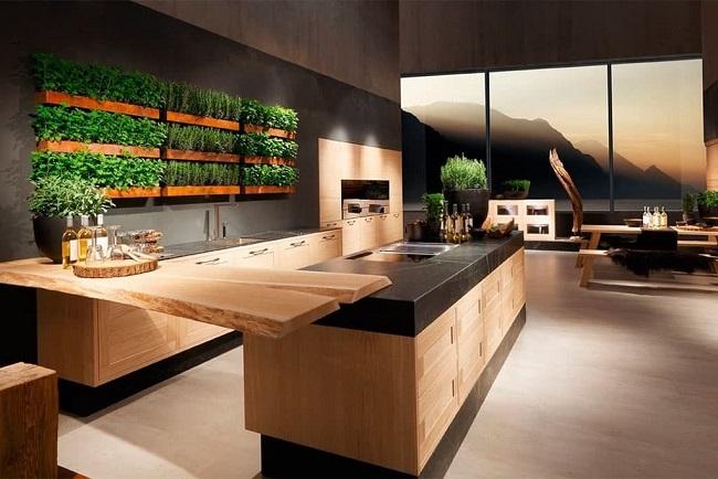 кухня экостиль боковое современное освещение