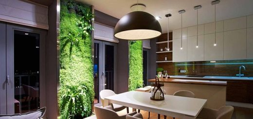кухня экостиль панно из живых растений