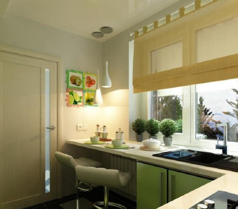 Кухня с барной стойкой у окна в экостиле