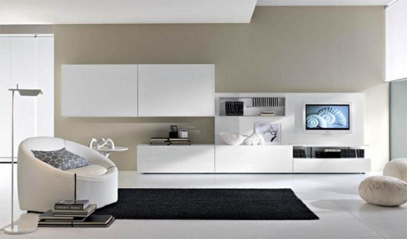 Современная мебель для гостиной белого цвета