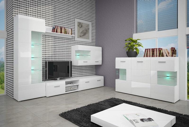 Глянцевая мебель для гостиной белого цвета