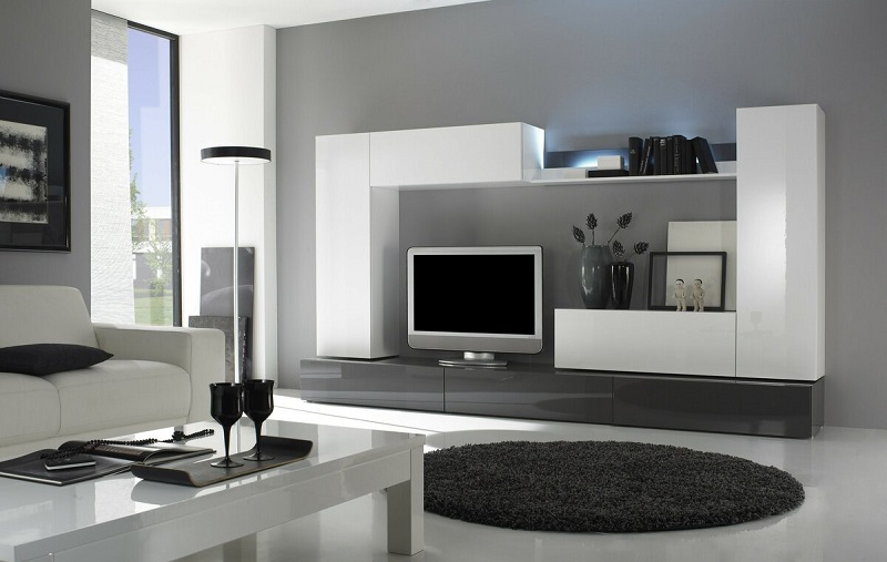 Мебель для гостиной белого цвета с глянцевой поверхностью