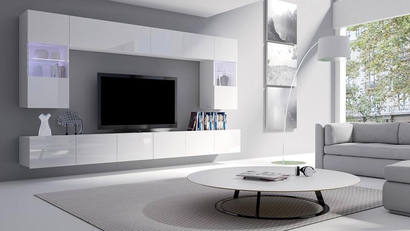 Мебель для гостиной белого цвета, высокий глянец