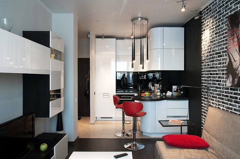 Современная маленькая кухня в студии