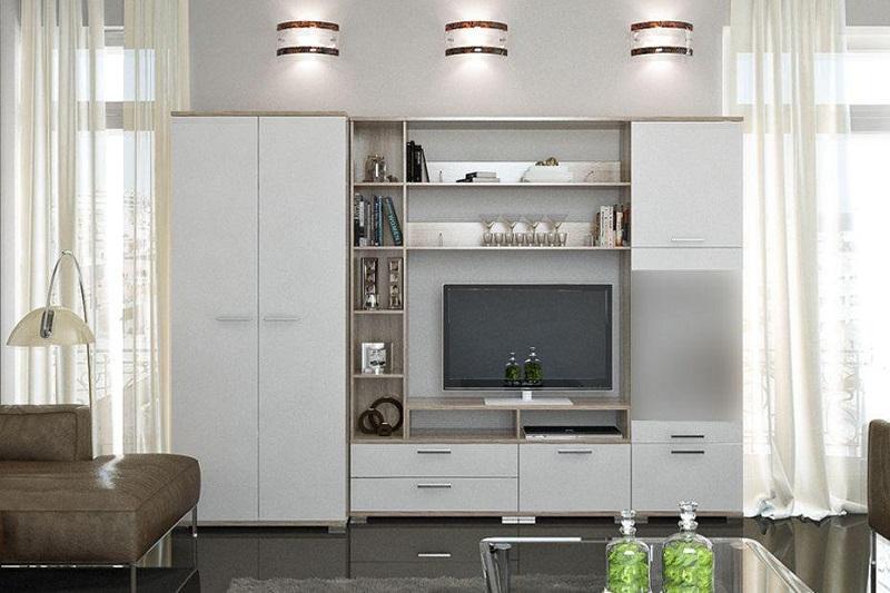 Маленькая мебель белого цвета для гостиной