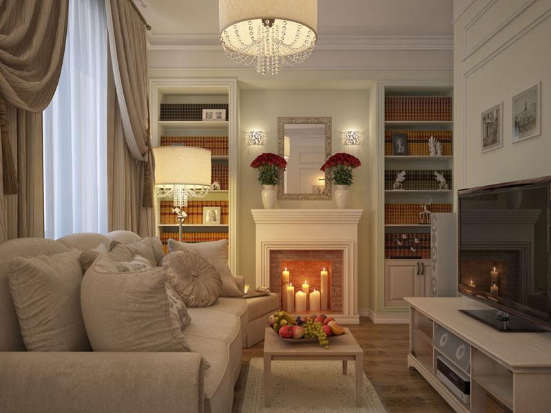 маленькая гостиная комната с камином