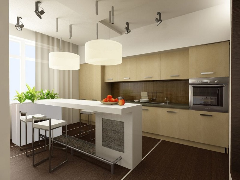 Кухня в современном стиле модерн с барной стойкой