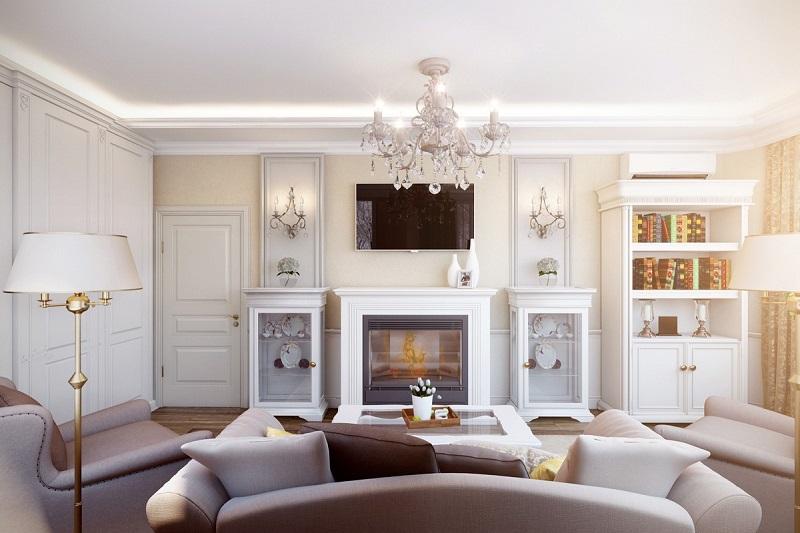 Белая мебель для гостиной с камином