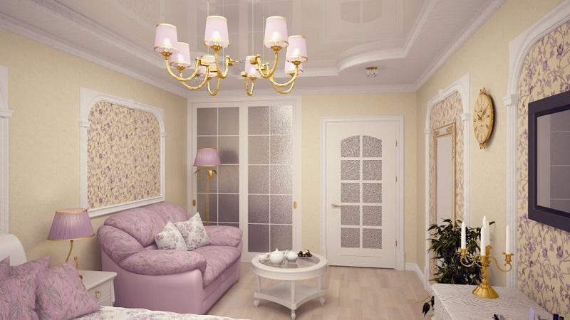 Обои для гостиной с белой мебелью