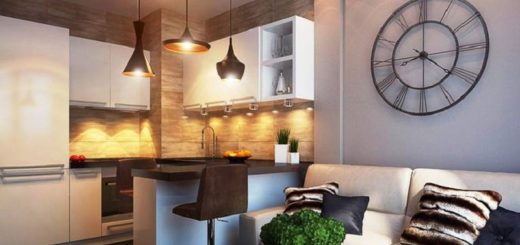 Маленькая кухня с барной стойкой в студию