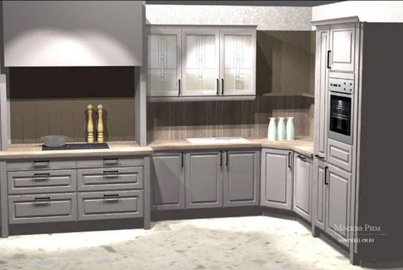 Серая кухня в стиле Классика