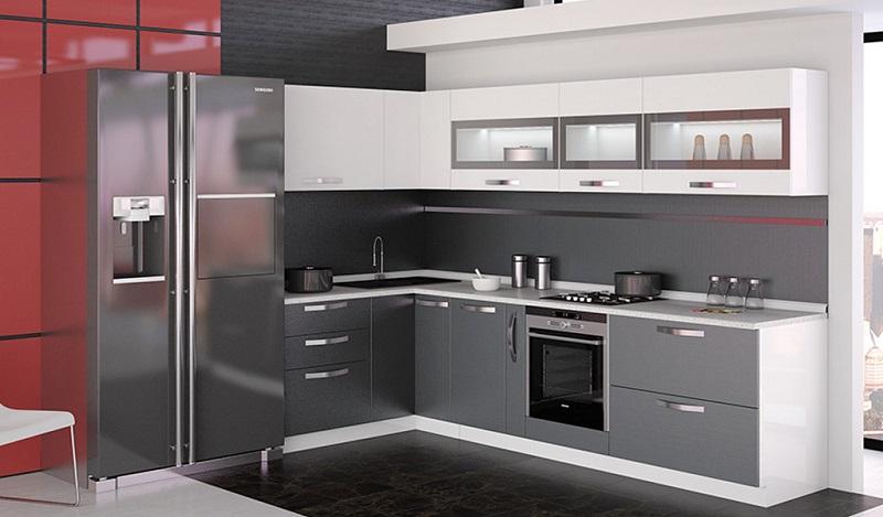Серая с белым матовая кухня