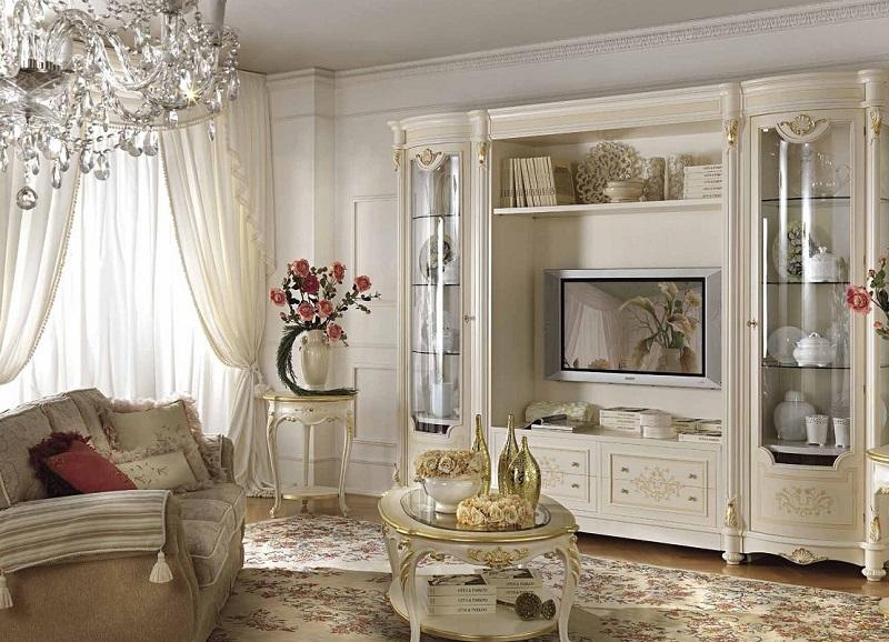 Классическая мебель для гостиной белого цвета