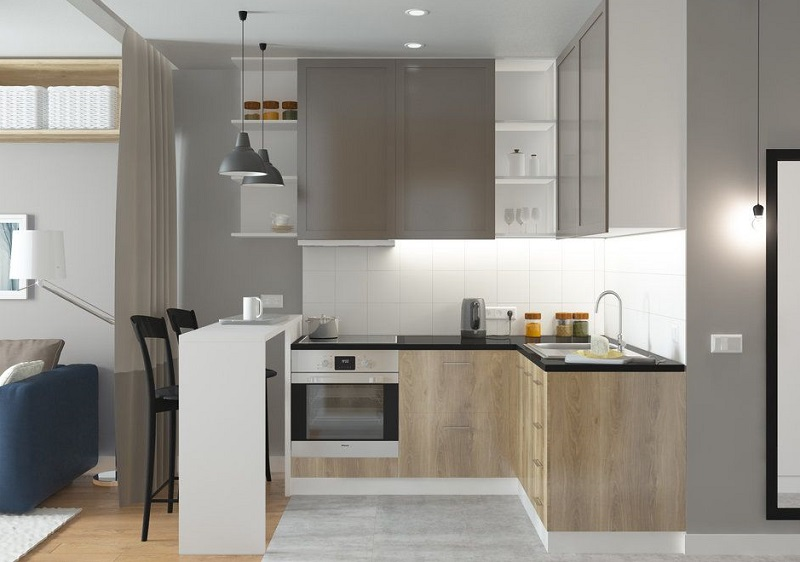 Светлая маленькая кухня в студию