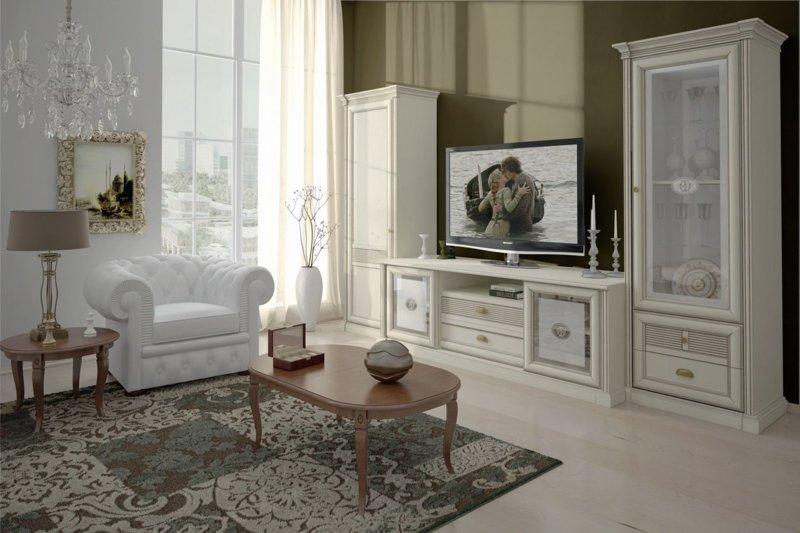 Мебель в классическом стиле для гостиной белого цвета