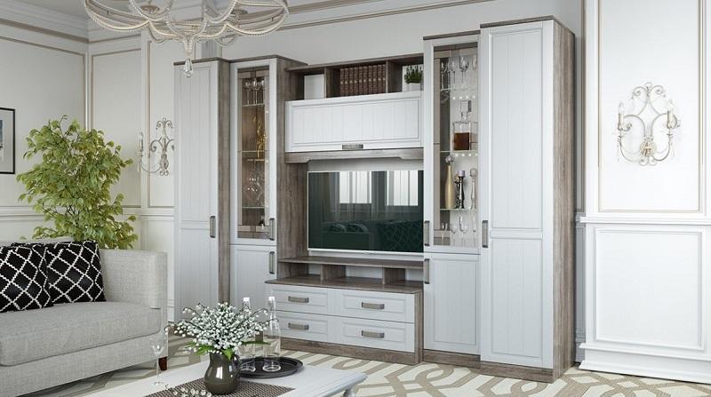 Мебель для гостиной белого цвета, классика, шпон