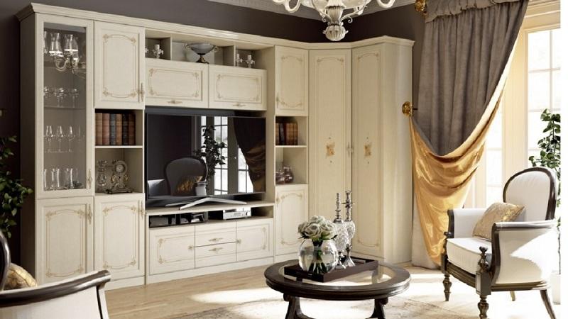 Мебель для гостиной белого цвета, классическая, мдф