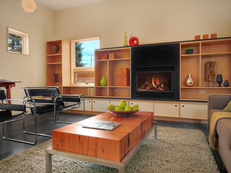 Мебельная стенка для гостиной с камином