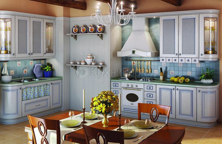 Итальянская кухня прованс из массива дерева