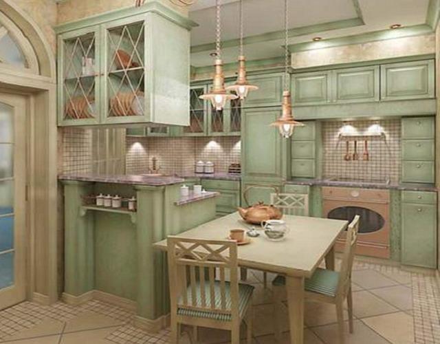 Кухня Прованс с барной стойкой