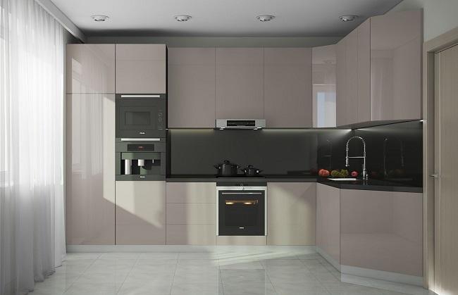 Угловая кухня минимализм со встроенным холодильником