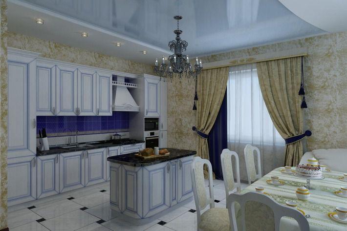 Белая кухня с голубой патиной