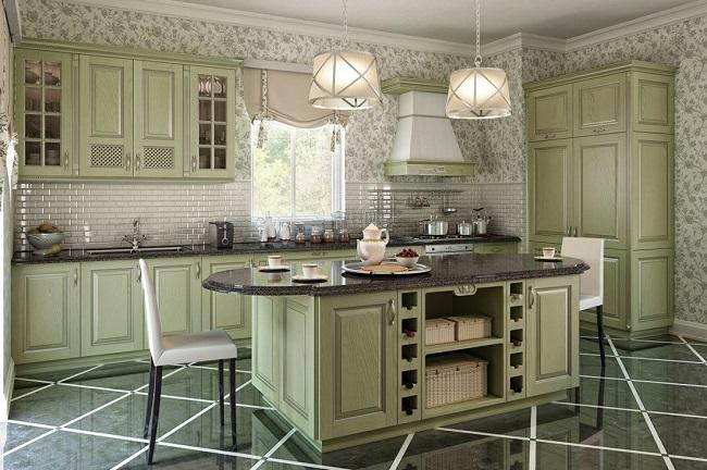 Кухня Прованс фисташкового цвета