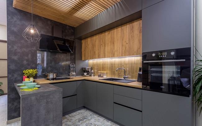 Кухня минимализм со скрытыми ручками