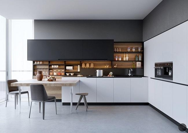 Кухня минимализм с открытыми верхними полками