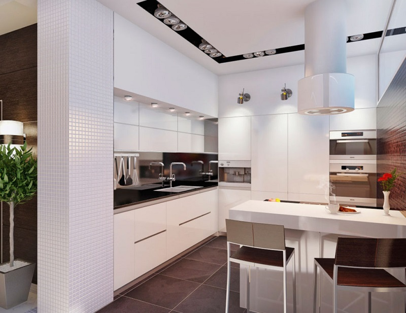 Современная светлая кухня в стиле хай-тек