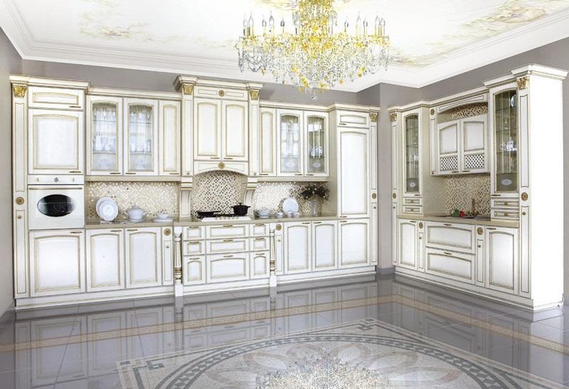 Элитная белая классическая кухня