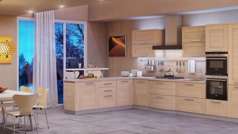 Современная светлая кухня из массива дерева